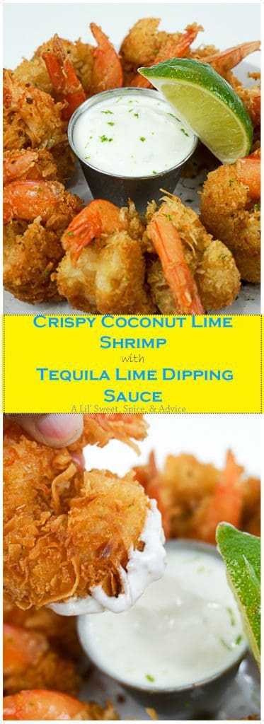 Crispy Coconut Lime Shrimp with Tequila Lime Dipping Sauce -- Lime juice and zest is the zip that coconut shrimp has been needing. -- lilsweetspiceadvice.com