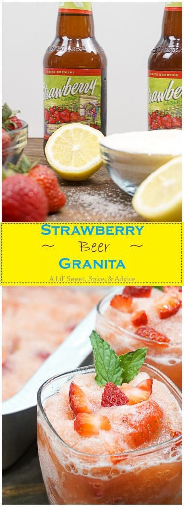 Strawberry Beer Granita -- This Strawberry Beer Granita is so simple to put together and any flavor light beer or fruit can be used in this granita recipe.-- lilsweetspiceadvice.com