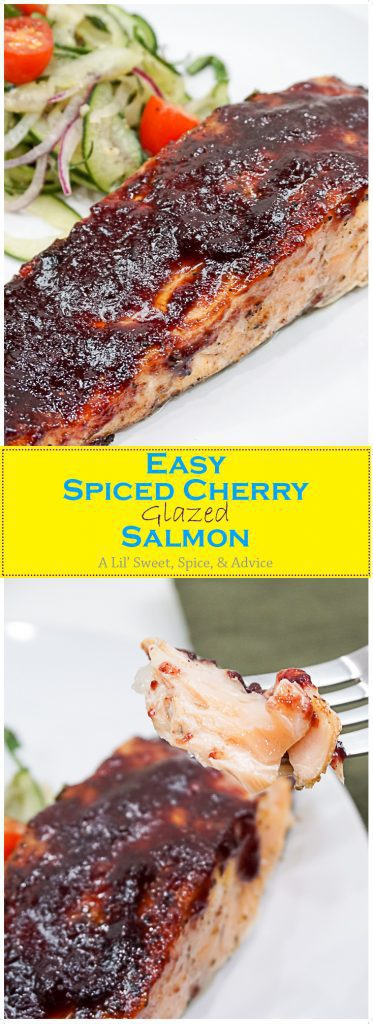 Spiced Cherry Glazed Salmon -- Spiced Cherry Glazed Salmon will be one of the easiest and most flavorful glazed salmon recipes you'll keep in your family's recipe arsenal. Just 4 ingredients and you'll be on your way to eating perfectly brined and glazed salmon! -- lilsweetspiceadvice.com