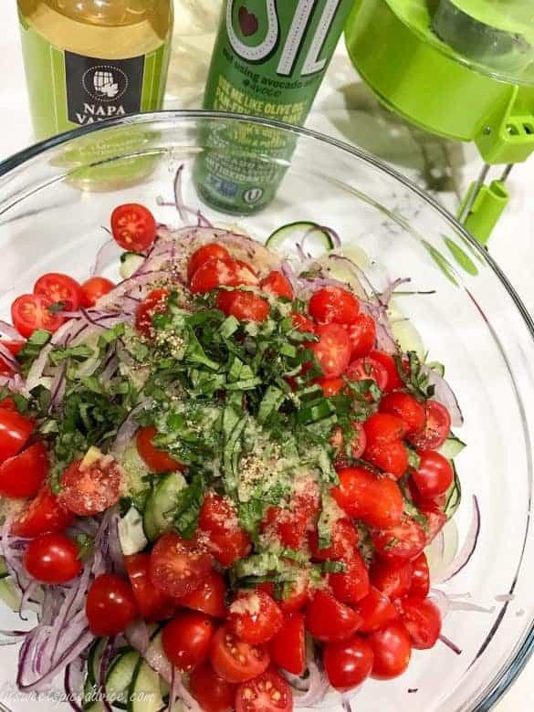 Spiralized Cucumber Tomato Salad with Thai Basil Ginger Vinaigrette