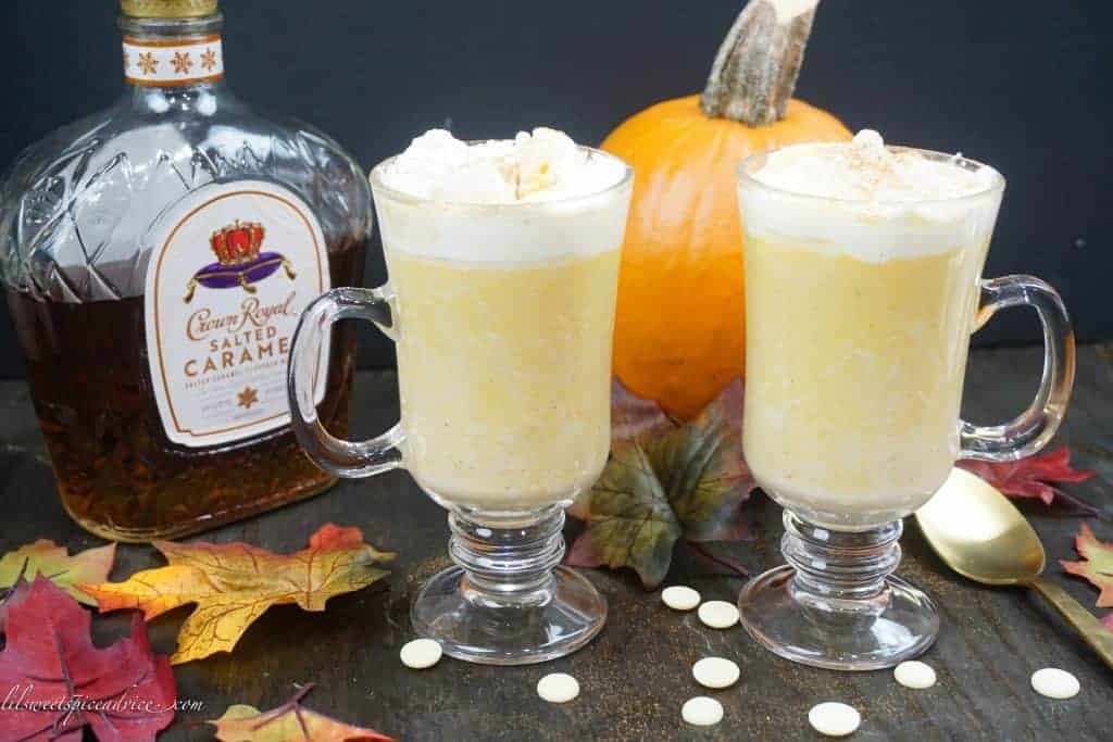 Pumpkin White Hot Chocolate with Crown Royal Salted Caramel Whisky-- Looking for a white hot chocolate to warm you up this winter? You can use pumpkin or butternut squash to make this decadent white hot chocolate then top it off with Crown Royal's new Salted Caramel Whisky--lilsweetspiceadvice.com #pumpkinwhitehotchocolate #whitehotchocolate #crownroyalcocktails #hotcocktails