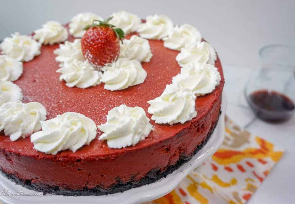 Red Velvet Cheesecake-- Thiis organic , creamy red velvet cheesecake is the only thing you will need to impress your sweetie for Valentine's Day. -- lilsweetspiceadvice.com #redvelvetcheesecake #organiccheesecake #redvelvetdesserts #Valentine'sDaydessert