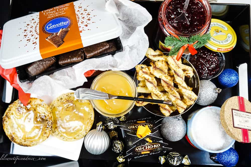 Holiday Season Goodies: French Food and Drink Federation -- If you could getaway to France right now these would be the goodies you would consume. I'll tell you more about each French Holiday season goody in this post! -- lilsweetspiceadvice.com #FrenchFoodDrinkFederation #FrenchHolidayGoodies #Frenchsnacks #crispycrepes